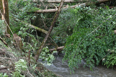 erosion and debris jamming at flooded river