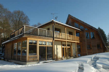 building based on the passive house concept in winter