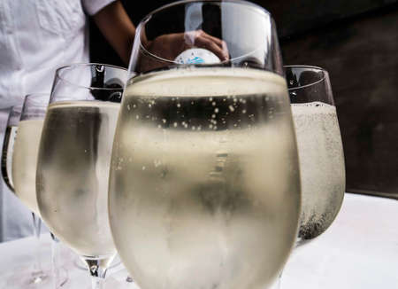 white wine spritzer in glasses on a table Stock fotó