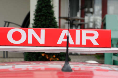 red On Air sign in radio operations Banco de Imagens