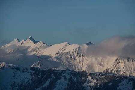 snowy mountain peaks in the alps in winter