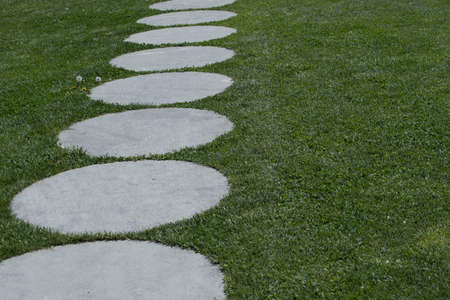 green space in garden design with round stone slabs on the lawn Reklamní fotografie