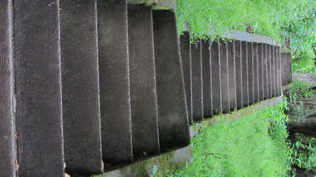 stone steps of a stair that leads up a green hill Reklamní fotografie