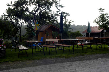 bad weather in the tourism sector in austria, inn in the rain
