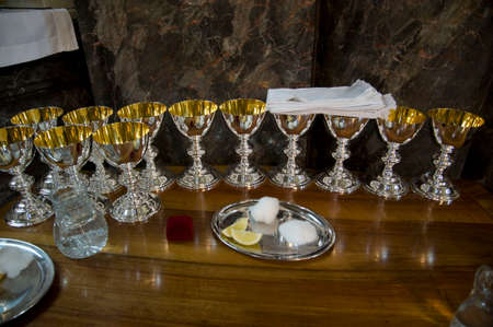 chalice at a holy communion, in the christian ritual of the eucharist Stockfoto