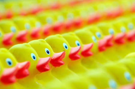 a bunch of yellow plastic ducks with red beaks, toy animals Standard-Bild