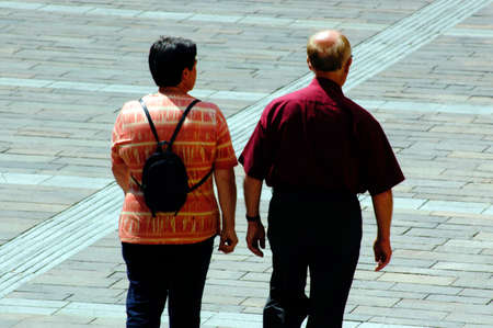 walking around in a city, couple doing an outdoor activity together Banque d'images