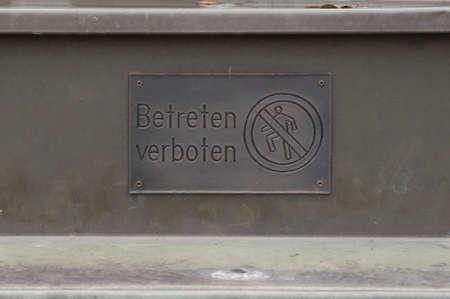 entering prohibited sign on the street, in german (Betreten verboten)