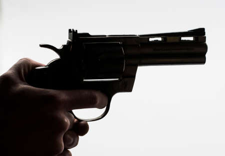 person with a revolver in hand, deadly and dangerous weapon