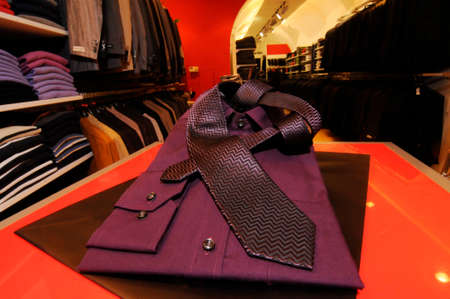 shirts in a clothing store, textile design and fashion trends