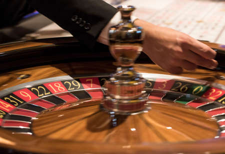 roulette game in a casino, gambling and luck in playing