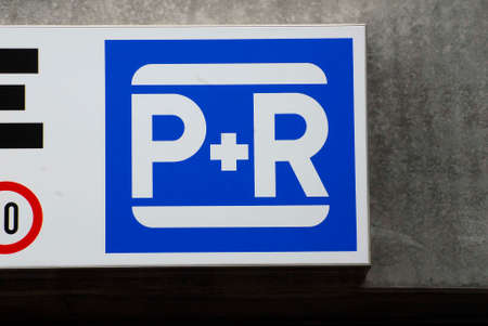 Park and Ride (P + R) traffic sign for car parking