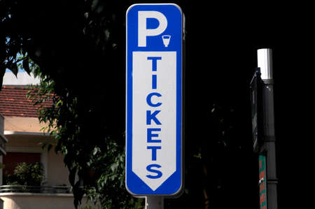 ticket automat sign for getting a parking permit for a parking space