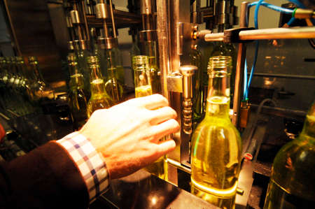 the bottling of wine in a modern industrial wine bottling plant
