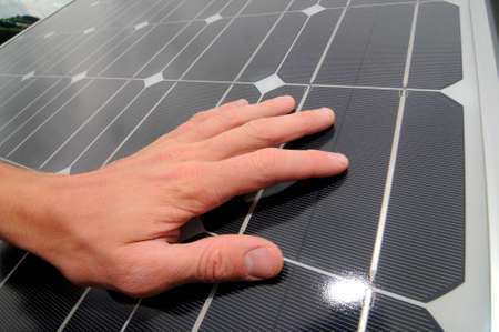 a solar panel for sustainable energy generation, people and technology