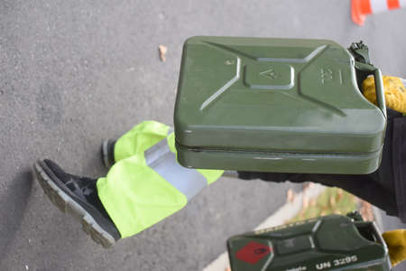 a jerry can for the transportation of fuel in a container