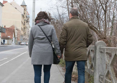 partnership and relationship between two people, man and woman being together