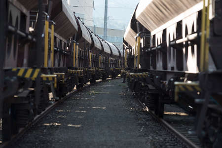 a freight train for the transportation of goods by rail