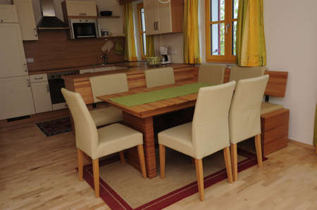 dining room with chairs and table, eating in an apartment