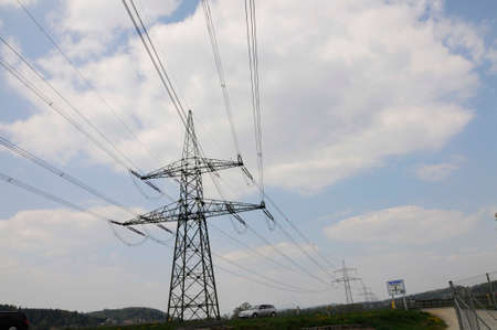 energy supply with a 380 kv power line and power pole Stock fotó