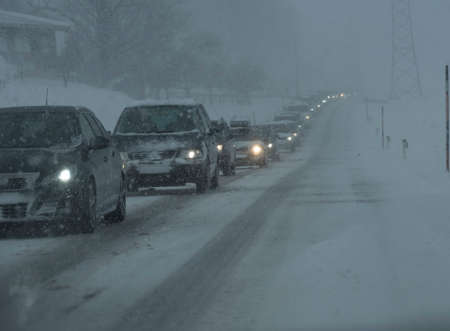 traffic jam and waiting in the car in the winter