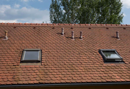 brick roof tiles of a roof a building or house
