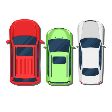 Cars top view. SUV, hatchback, wagon, sedan. Flat style color illustration isolated on white background for web design or print Çizim