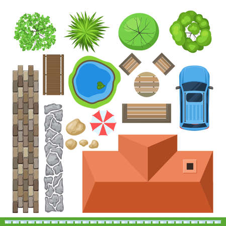 lawn chair: Landscape elements for project design, top view. illustration detailed isolated on white background