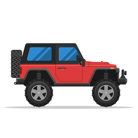 offroad: Off-road vehicle isolated on white background. Illustration flat style for web design banner or print