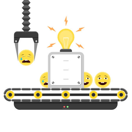 conveyor system: Concept of Sad to Happy emoticons. Conveyor system in flat design and emoji smiley. illustration isolated on white background for web banner design and print Illustration