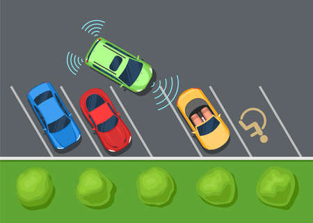 assist: Colored Parked cars on the parking, top view. Parking assist system safety, smart car. Color Flat style illustration background for web design or print