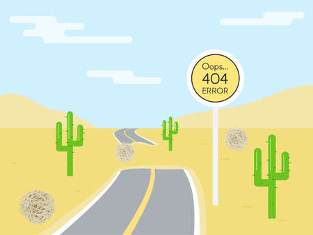 end of road: 404 error page template for website. Road sign in shape of yellow circle. End road. Road in the desert. Vector illustration for web design 404 page not found