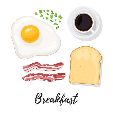 web side: Breakfast food. Egg, scrambled eggs, bacon, bread toast, herbs and coffee. Sunny side up eggs top view. Vector illustration isolated on white background for web design or brochure printing