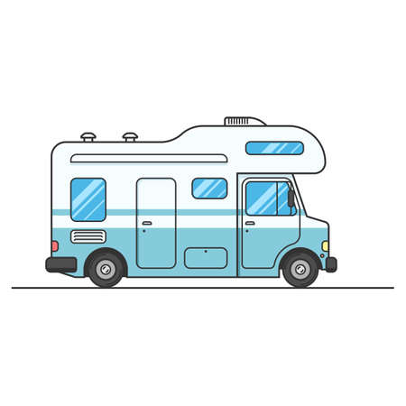 family van: Caravan van sign isolated on white background, RV Travel on car. Home truck Family trip. Vector flat illustration for web design or print