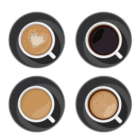 Coffee cup set top view. Americano, latte, espresso, cappuccino, macchiato, mocha assortment isolated on white background. Vector illustration for web design or brochure printing
