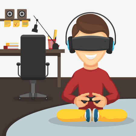 Teenager boy with game controller gamepad in virtual reality glasses and headphones on the background of the workplace. Playing video games keeps the joystick in his hands. Vector cartoon illustration
