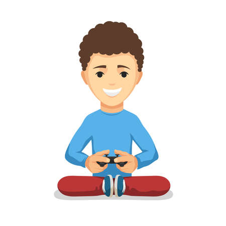 playing video games: Curly teenager boy with game controller gamepad isolated on the white background. Kid Playing video games keeps the joystick in his hands. Vector cartoon illustration Illustration