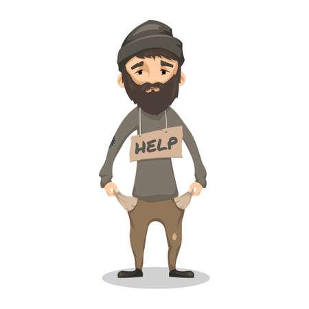 Dakloos. Shaggy bebaarde man in haveloze oude kleren en met een bord HELP. Arme man zonder huis en geld. Vector cartoon illustratie op een witte achtergrond