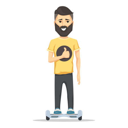 hover: Young man smiling with beard on hoverboard. Self-balancing two wheeled electric Scooter battery-powered. Vector illustration isolated on white background for web design banner and print Illustration
