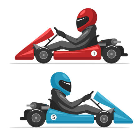 activity cartoon: Karting go. Racing on sport kart driver man in helmet. Auto racing red and blue Go-kart. Vector cartoon illustration for web design banner and print