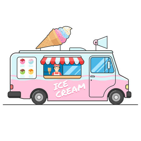 Ice cream truck, side view. Seller of ice cream in the van. Ice cream van. Isolated vector flat design illustration on white background for your web design or print Vettoriali