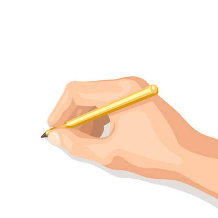 Pen in her hand. The hand writes or draws. Isolated vector illustration on white background for your web design or print