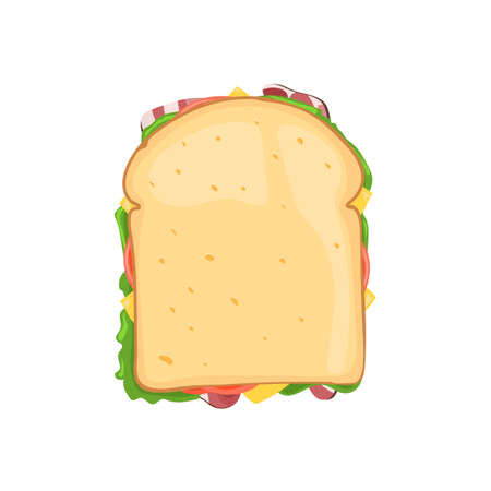 toasted sandwich: Sandwich vegetable with bacon and cheese top view. Vector illustration isolated on white background for web design or brochure printing