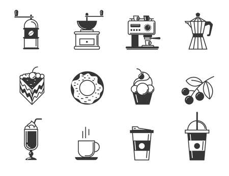 baked goods: Cafe and confectionery icon set of coffee and pastries. Sweet baked goods, desserts and coffee. Vector illustration for your design
