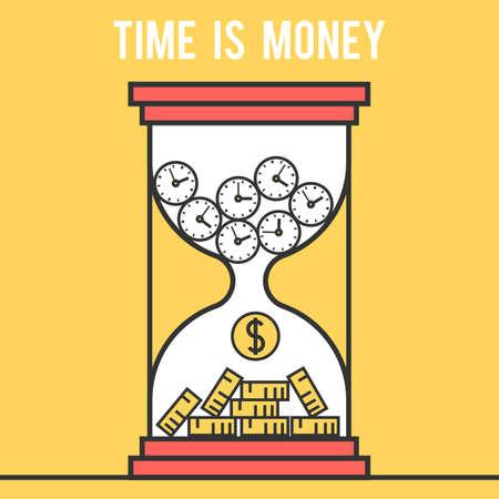 accumulation: Icon design concept time is money, hourglass. Modern flat line vector logo pictogram illustration Illustration