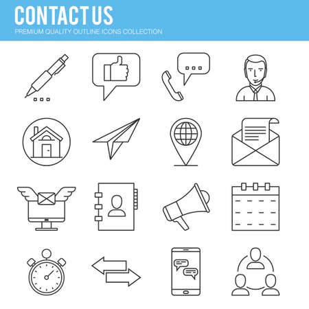 feedback link: Contact us, mail, operator, Line icon collection . Premium quality vector illustration icon set for your web design