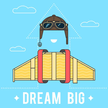 airman: Dream big concept , cardboard wings and a helmet with goggles Aviator retro. Modern flat line vector logo pictogram illustration Illustration