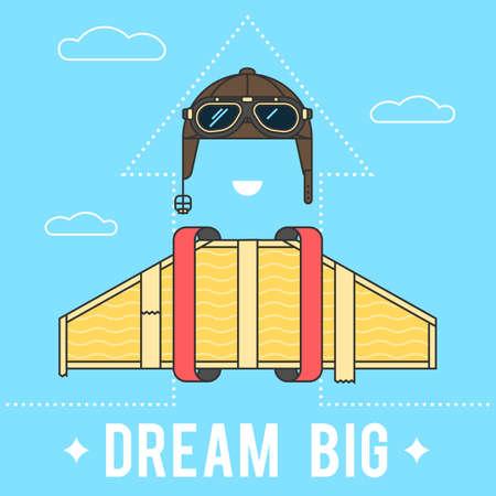 Große Träume Konzept, Karton Flügel und einen Helm mit Schutzbrille Aviator Retro. Moderne flache Linie Vektor-Logo Piktogramm Illustration Logo