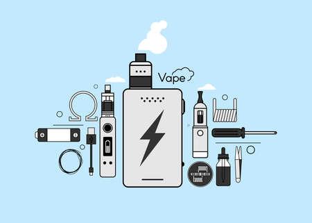 Set di elementi per la barra di vapore e un negozio di Vape, icona sigaretta elettronica, non fumo. Linea moderna Design piatto icona illustrazione vettoriale set per il vostro web design