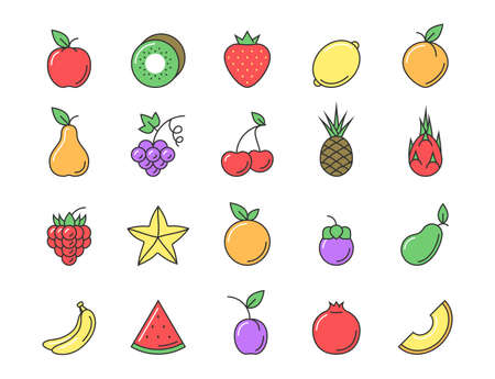 prickly fruit: Fresh fruit icon color set. Flat line sign vector illustration for your design